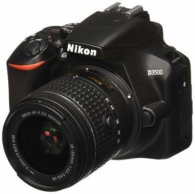 Cámara para viajar Nikon D3500 Lente AF- P DX, Video Full HD 1080p, 18- 55mm